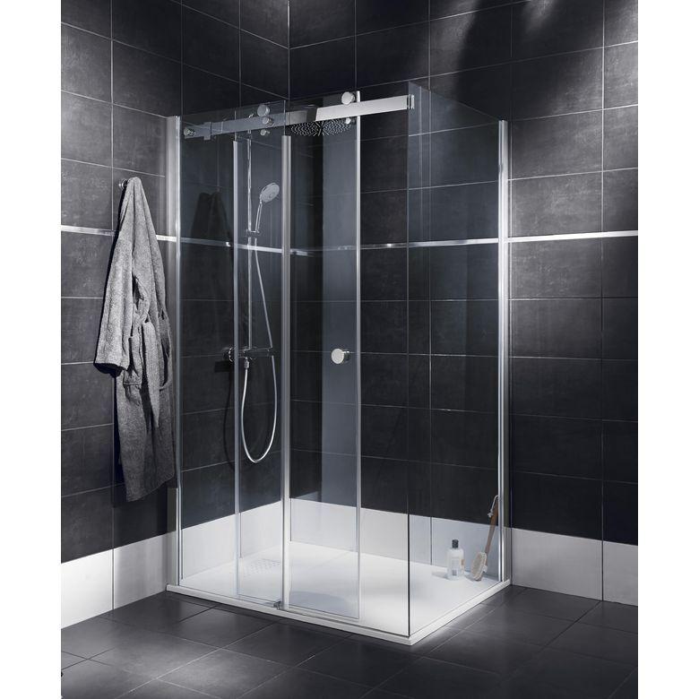 Schulte Porte de douche PALACE coul. H.200 x l.116.5/118.5 + retour l.86.5/88.5 chrome