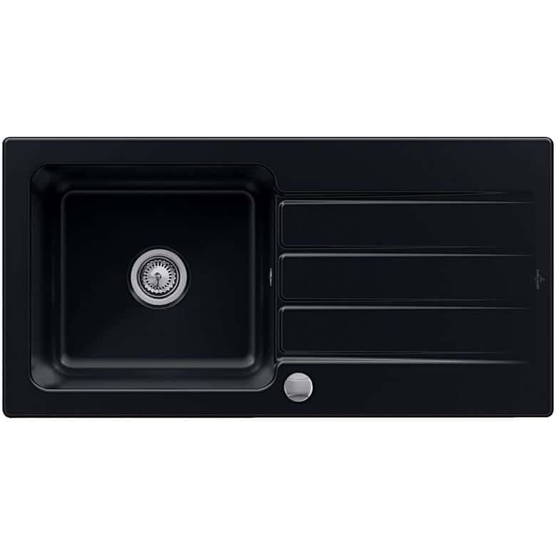 Villeroy & Boch Evier ARCHITECTURA céramique glossy black 1 bac L.86 x l.51
