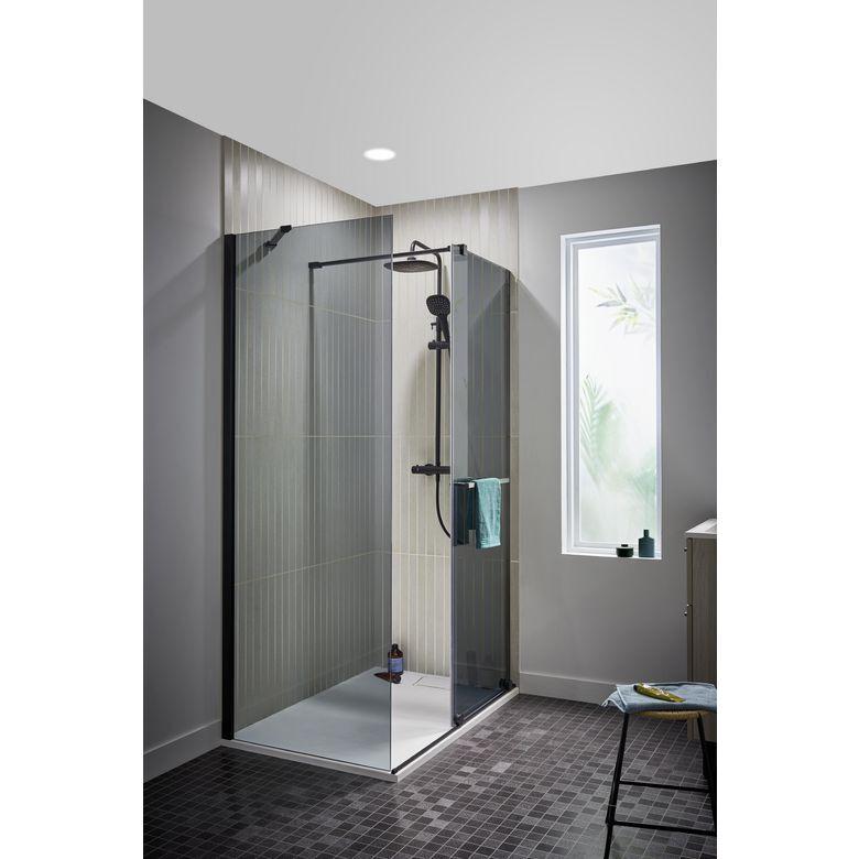 Schulte Porte de douche DORE couliss. H.200 x l.117/119 verre gris anticalcaire noir