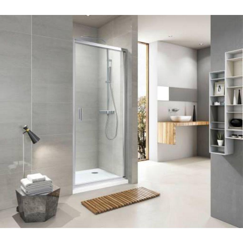 Aquaneo Porte de douche DRAC pivotante H.190 xl.80 verre sérigraphié anticalcaire blanc