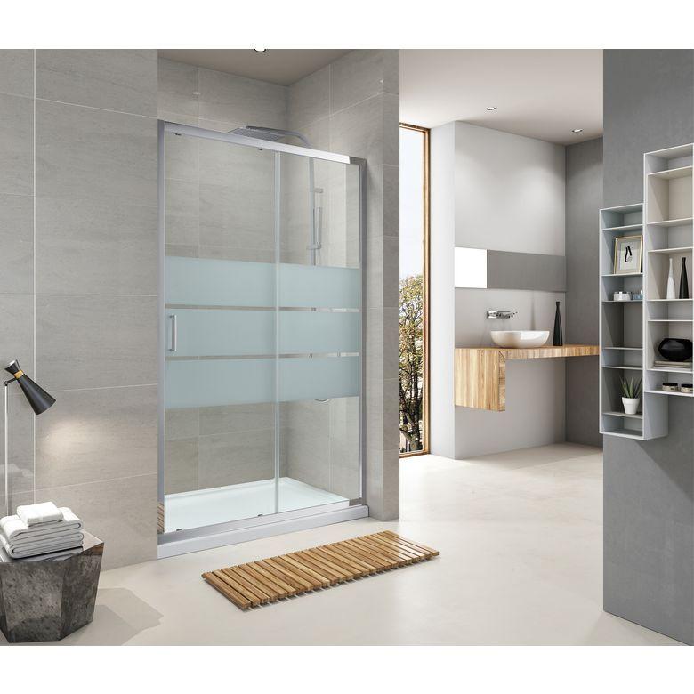 Aquaneo Porte de douche DRAC couliss. 2 panneaux H190 x l.140 sérigraphié antical chrome