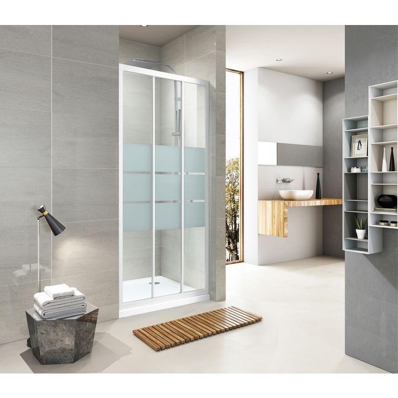 Aquaneo Porte de douche DRAC couliss. 3 panneaux H190 x l.80 sérigraphié antical. blanc