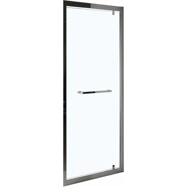 Lapeyre Porte de douche DECO pivotante H.195 x l.80 inox brillant verre transparent