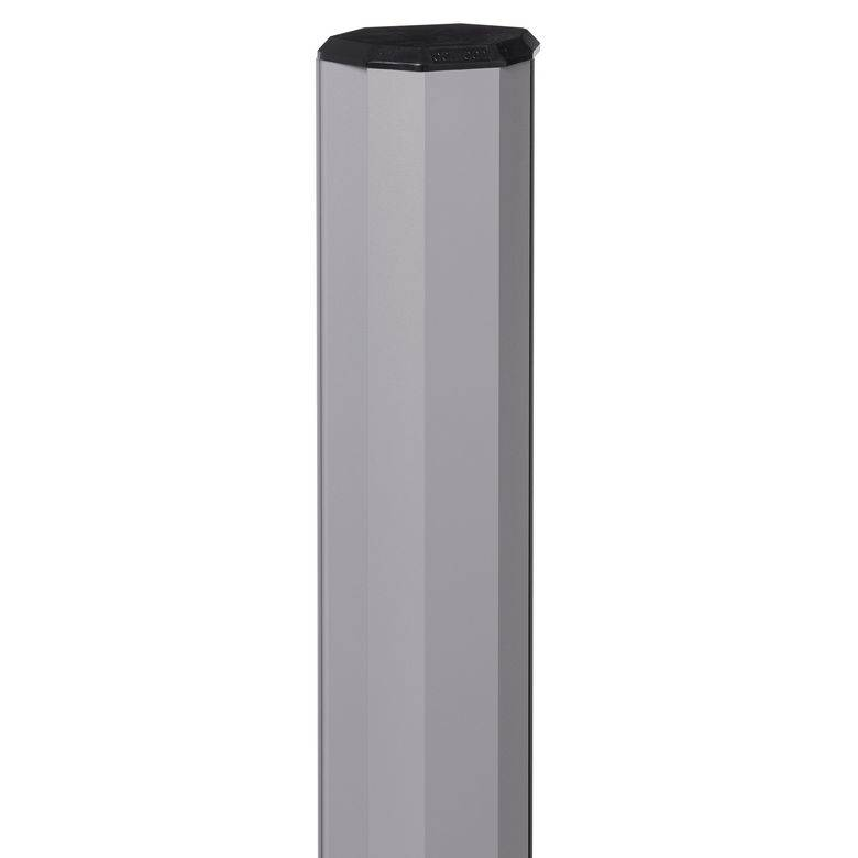 Lapeyre Poteau gris 7037 avec accessoires pour clôture composite 163.5