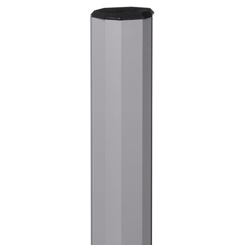 Lapeyre Poteau gris 7037 avec accessoires pour clôture composite 63.5