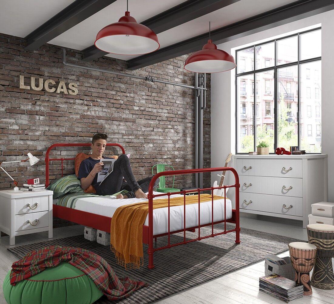 vipack Lit de 120 New York métal - rouge