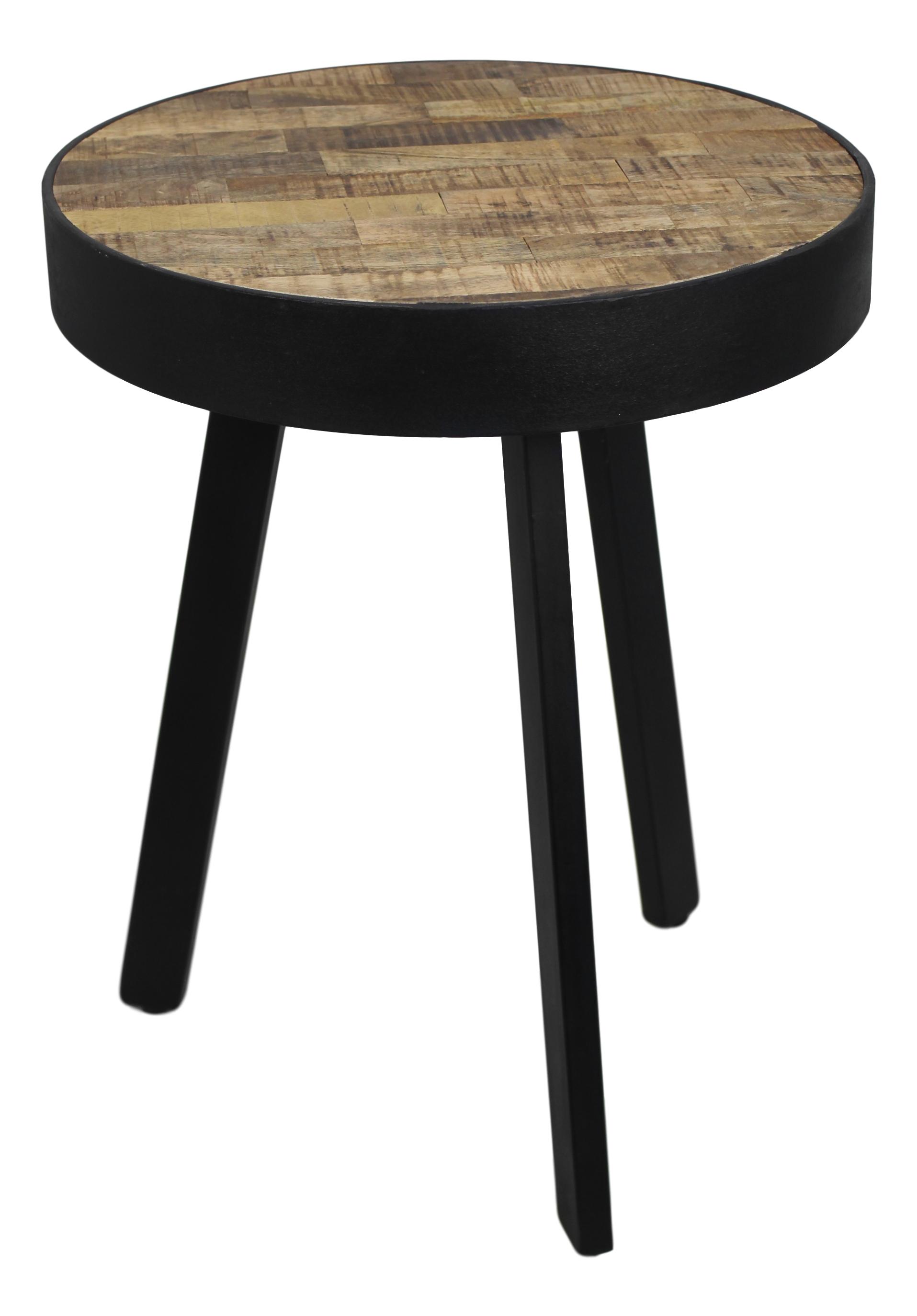 henk_schram_meubelen Table d'appoint Montréal - ø43 cm - bois de mangue / fer