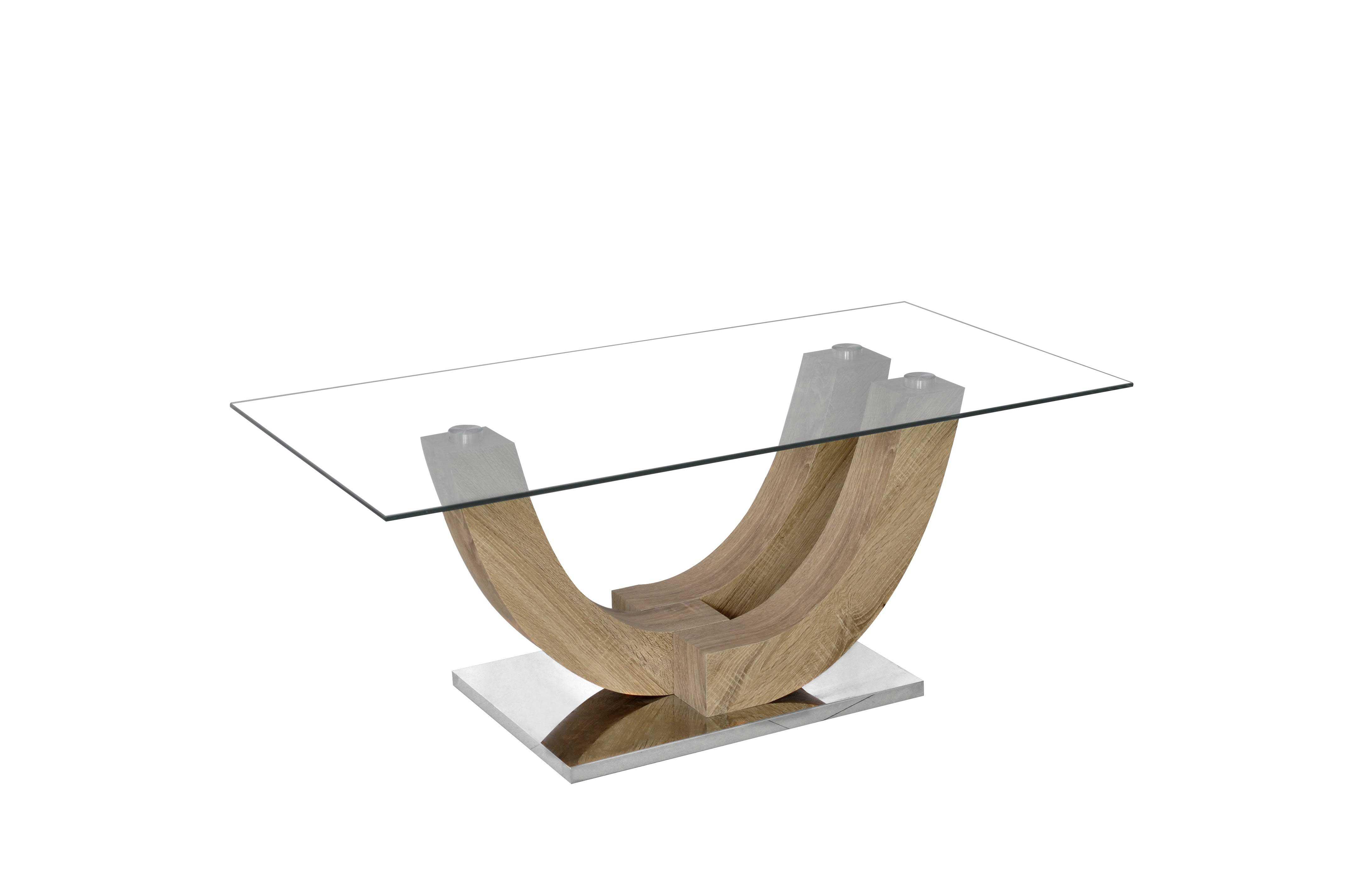rousseau Table basse Navarro avec plateau en verre - chêne vieilli