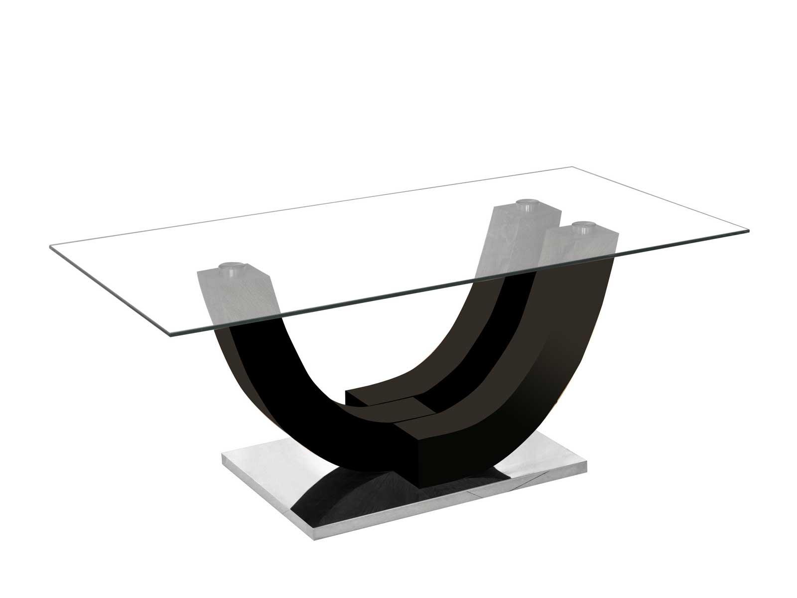 rousseau Table basse Navarro avec plateau en verre - noir brillant