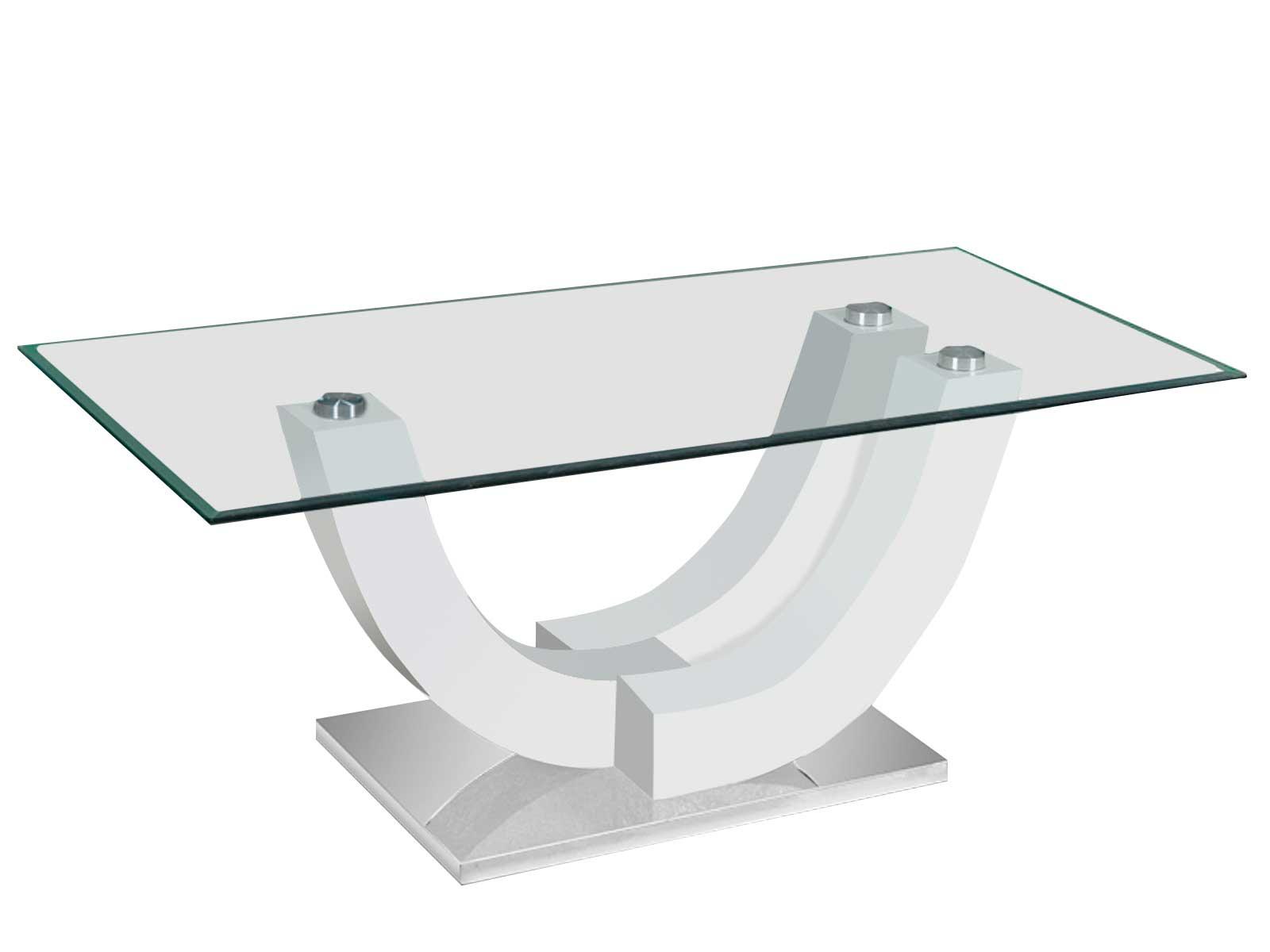 rousseau Table basse Navarro avec plateau en verre - blanc brillant