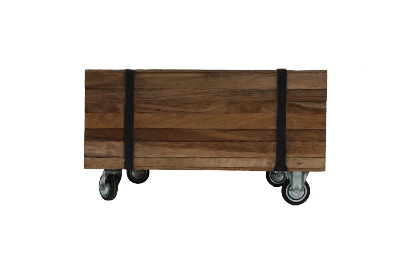 henk_schram_meubelen Table basse Singa sur roulettes - 50x50 cm - naturel - teck / fer
