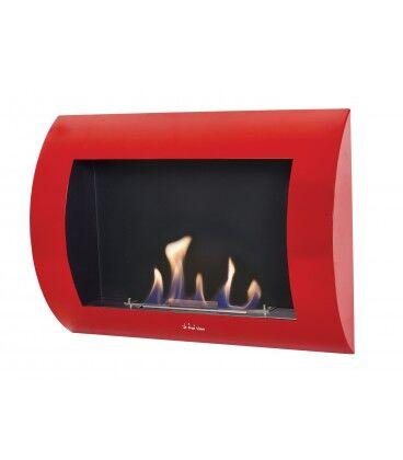 Mobelium Cheminée Avant Incurvée Rouge Inox-clasic R 60x45x13,5