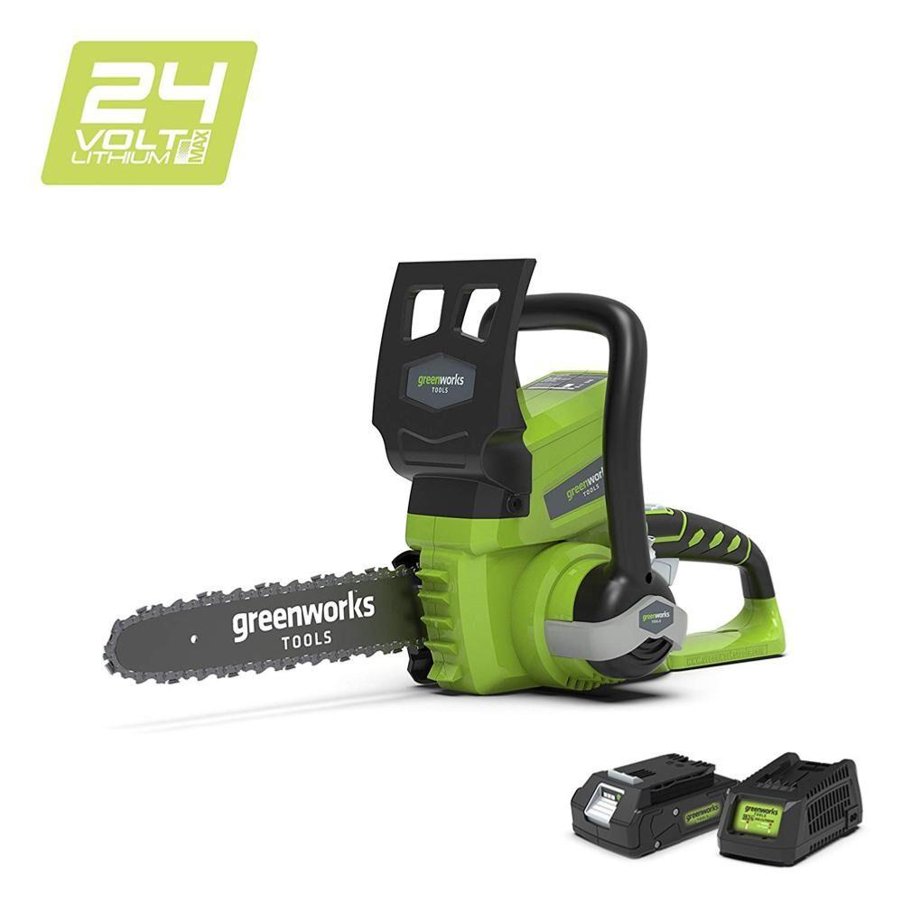 Tronçonneuse GREENWORKS 24V – 25 cm – 1 batterie 2.0 Ah – 1 chargeur – G24CS25K2
