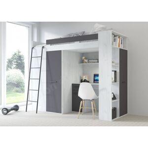 Lit combiné enfant 90x200 avec bureau et armoires blanc , Gamme maxi A gauche - Publicité