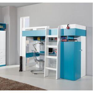 Lit mezzanine enfant en bois blanc et bleu, 1 echelle, espace bureau et rangements, Gamme braga - Publicité