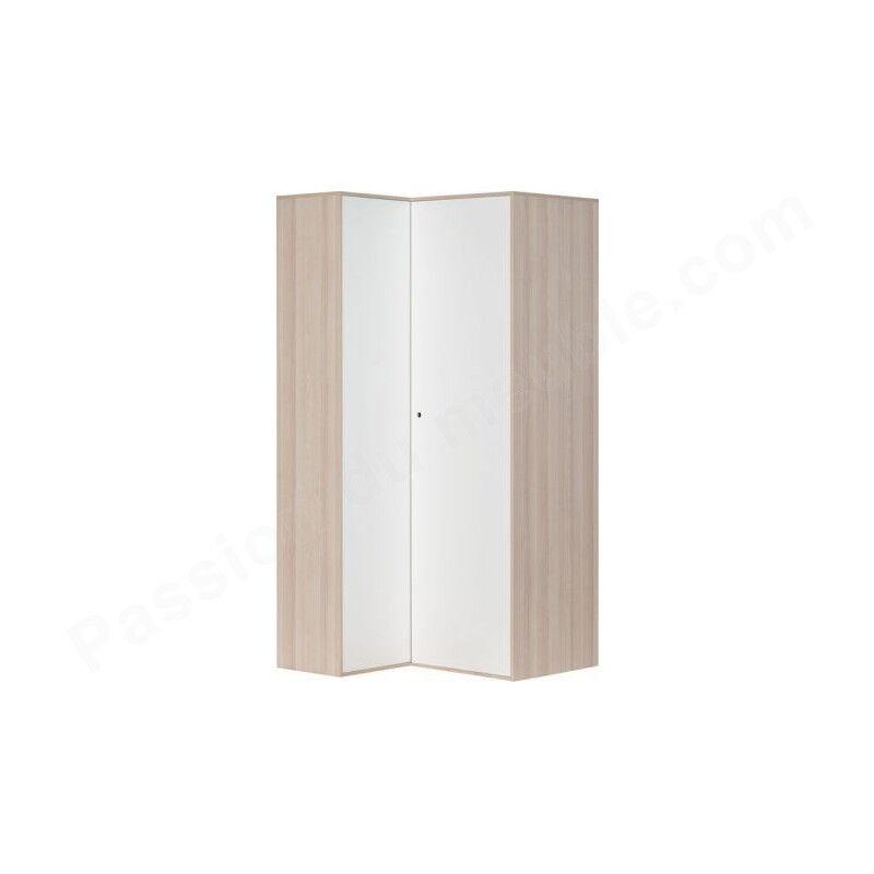 Vox Armoire d'angle enfant en bois blanc et chêne, 2 portes, Gamme Meyrin
