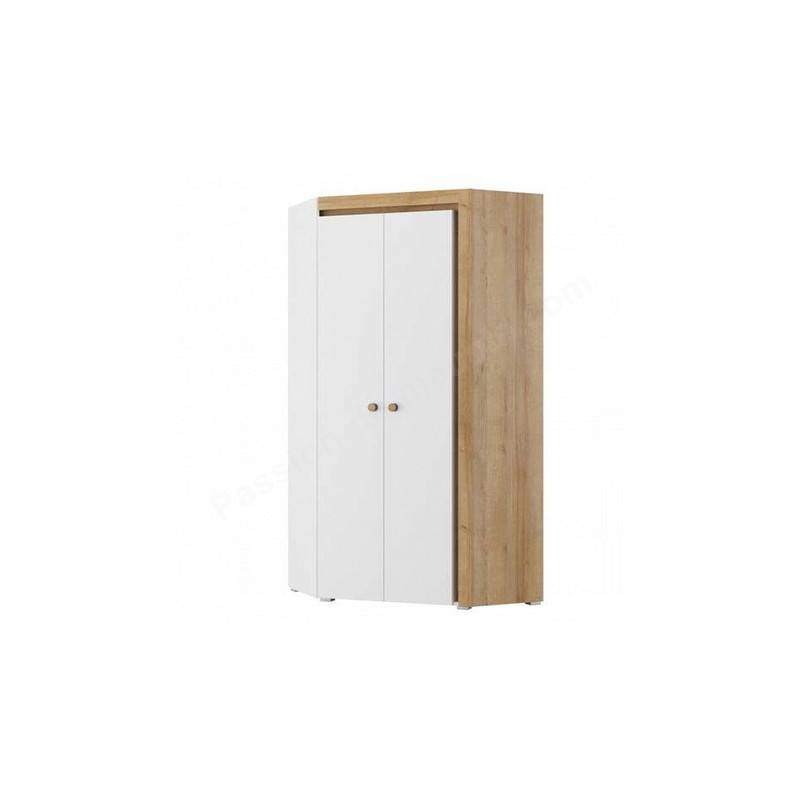 CRDIS Armoire d'angle enfant en bois blanc et chêne, 2 portes, Gamme Ypres