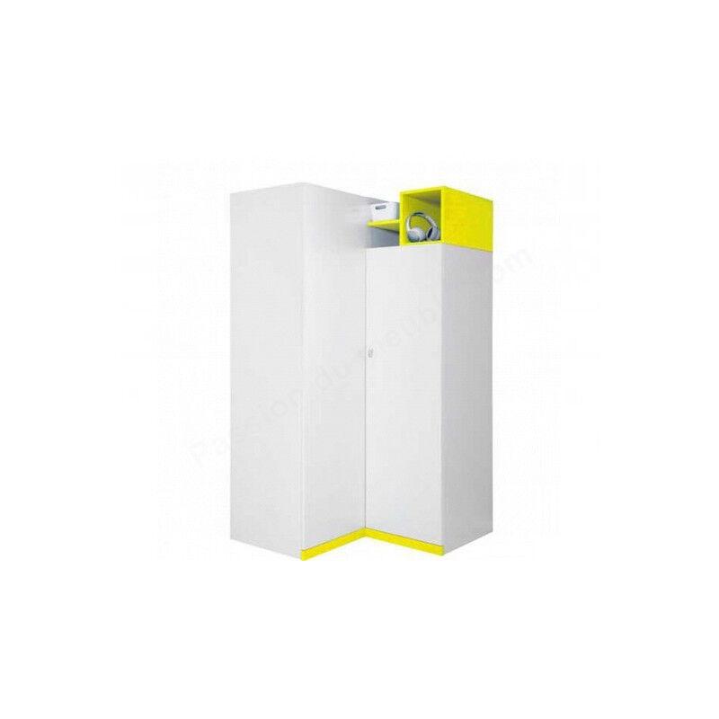 CRDIS Armoire d'angle enfant en bois blanc et jaune, 2 portes, Gamme Mouscron