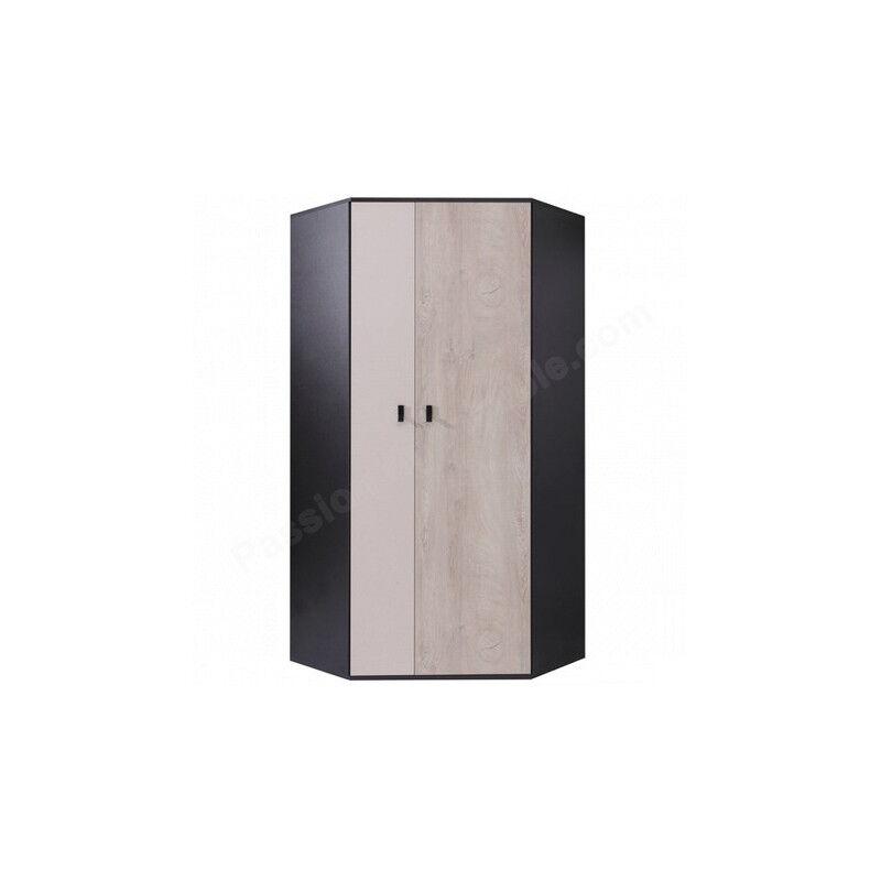 CRDIS Armoire d'angle enfant en bois blanc, gris et noire, 2 portes, Gamme Porto
