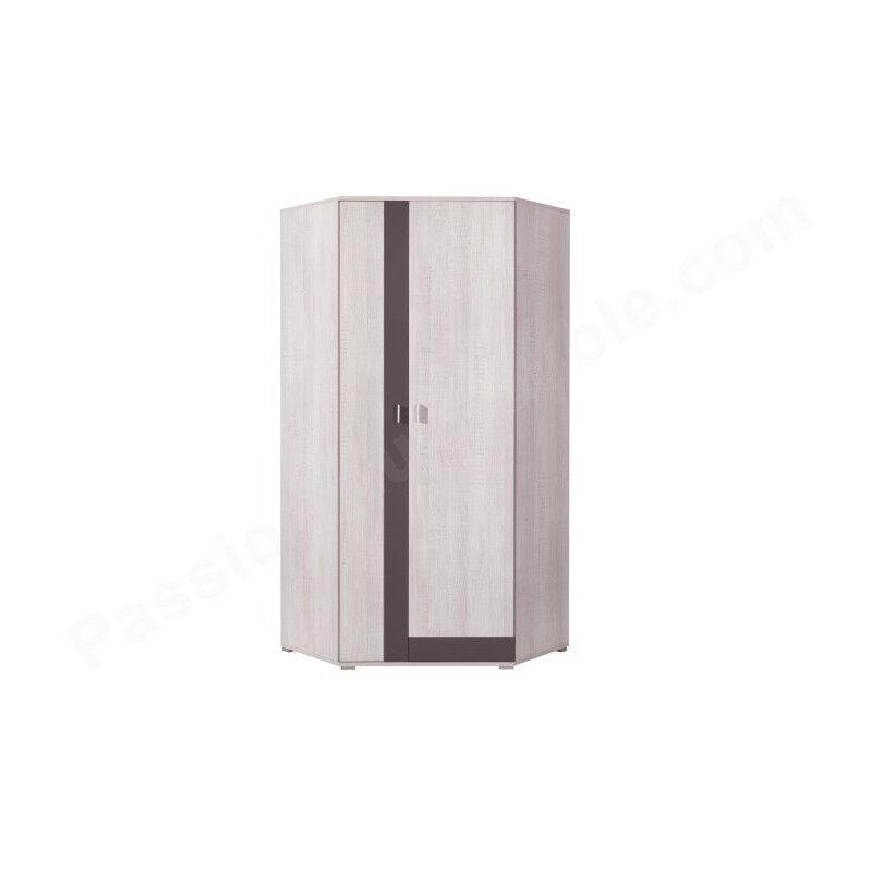 CRDIS Armoire d'angle enfant en pin, 2 portes, Gamme Evora Blanc et gris