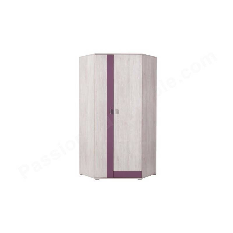 CRDIS Armoire d'angle enfant en pin, 2 portes, Gamme Evora Blanc et magenta