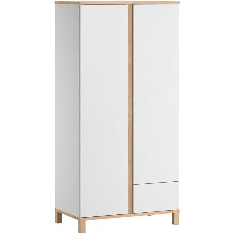 Armoire-dressing bebe 2 portes, 1 tiroir, Gamme altitude, marque vox Blanc