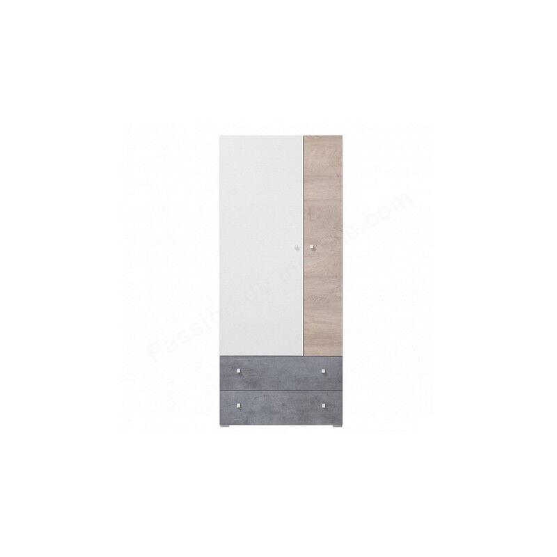 Armoire enfant en bois, 2 portes, 2 tiroirs, Gamme elche Beton, Blanc et Chêne