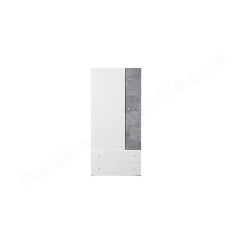 Armoire enfant en bois, 2 portes, 2 tiroirs, Gamme elche Béton et blanc