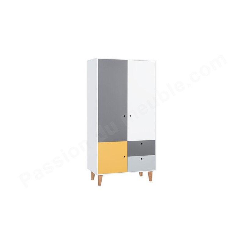 Vox Armoire enfant en bois, 3 portes, 2 tiroirs, Gamme Tomar Gris, blanc et jaune