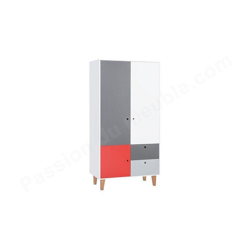 Armoire enfant en bois, 3 portes, 2 tiroirs, Gamme tomar Gris, blanc et rouge