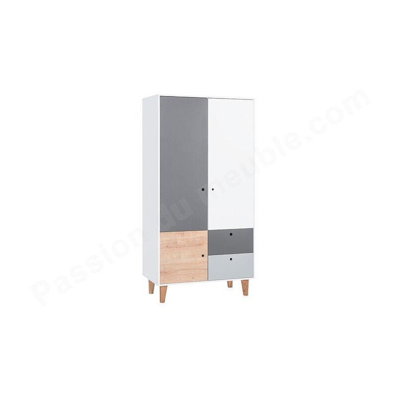 Vox Armoire enfant en bois, 3 portes, 2 tiroirs, Gamme Tomar Gris, blanc et chêne