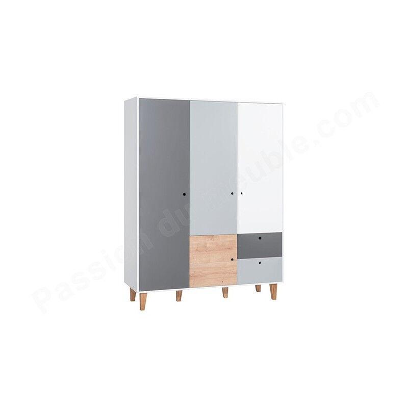 Vox Armoire enfant en bois 4 portes, 2 tiroirs, Gamme Tomar Gris, blanc et chêne