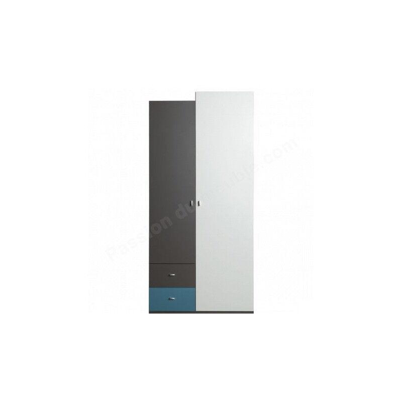 Armoire enfant en bois blanc, bleu et noir, 2 portes, 2 tiroirs, Gamme lagos