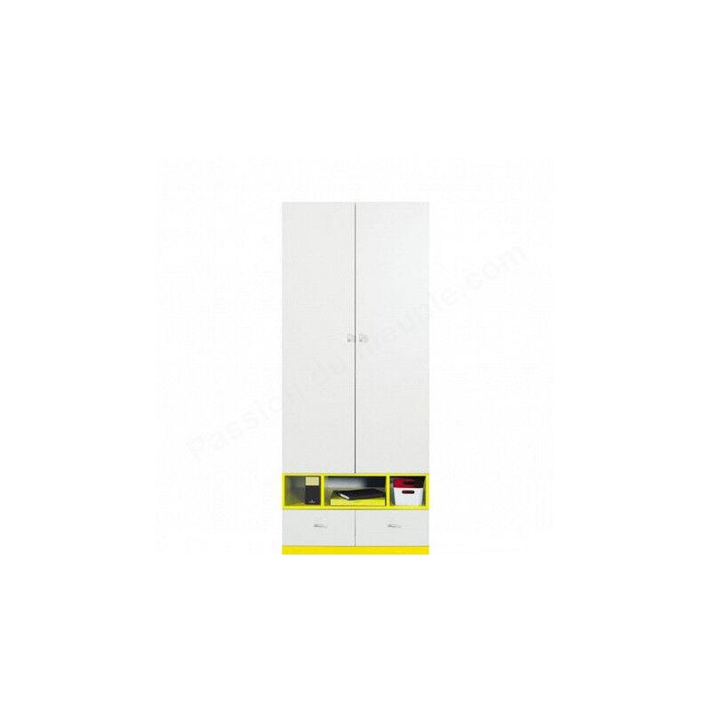 Armoire enfant en bois blanc et jaune, 2 portes, 2 tiroirs, 3 niches, Gamme mouscron