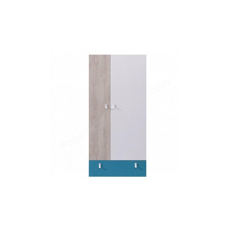 Armoire enfant en bois blanc, gris et bleu, 2 portes, 1 tiroir, Gamme porto