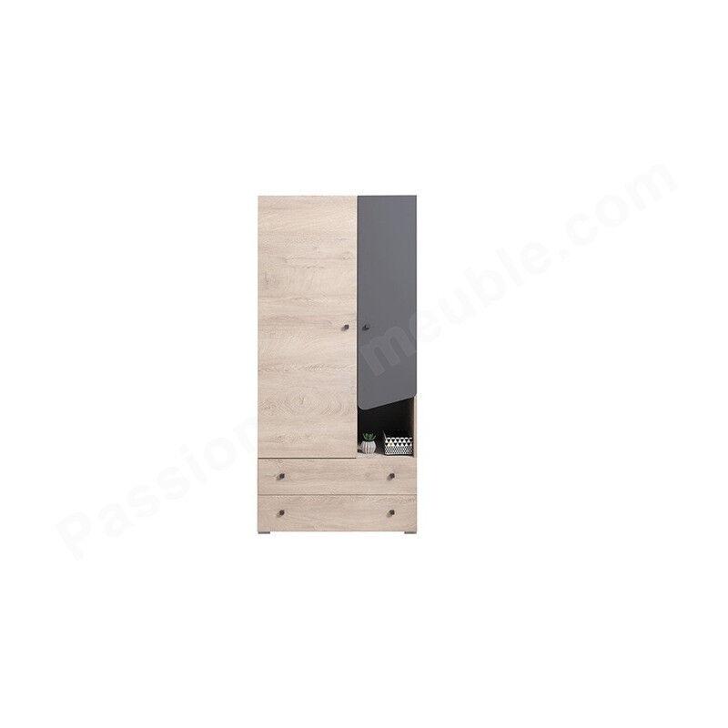 Armoire enfant en bois chêne et gris, 2 portes, 2 tiroirs, Gamme faro