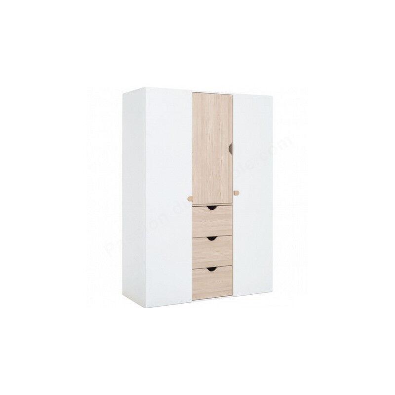 Armoire enfant en bois gris blanc et chêne, 3 portes, 3 tiroirs, Gamme tavira