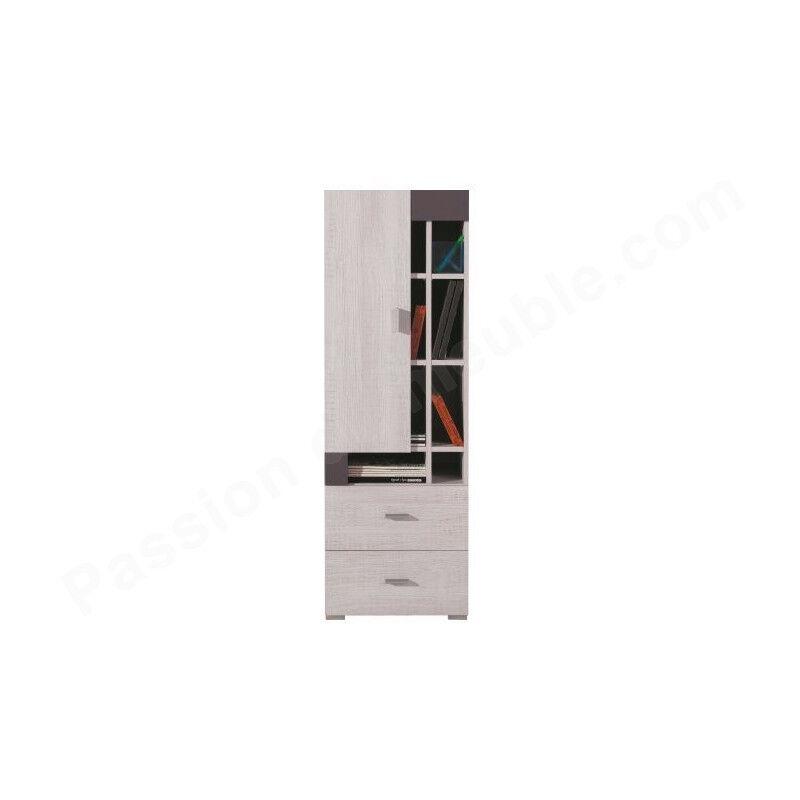 Armoire enfant en pin, 1 porte, 2 tiroirs, 8 niches, Gamme evora Blanc et gris
