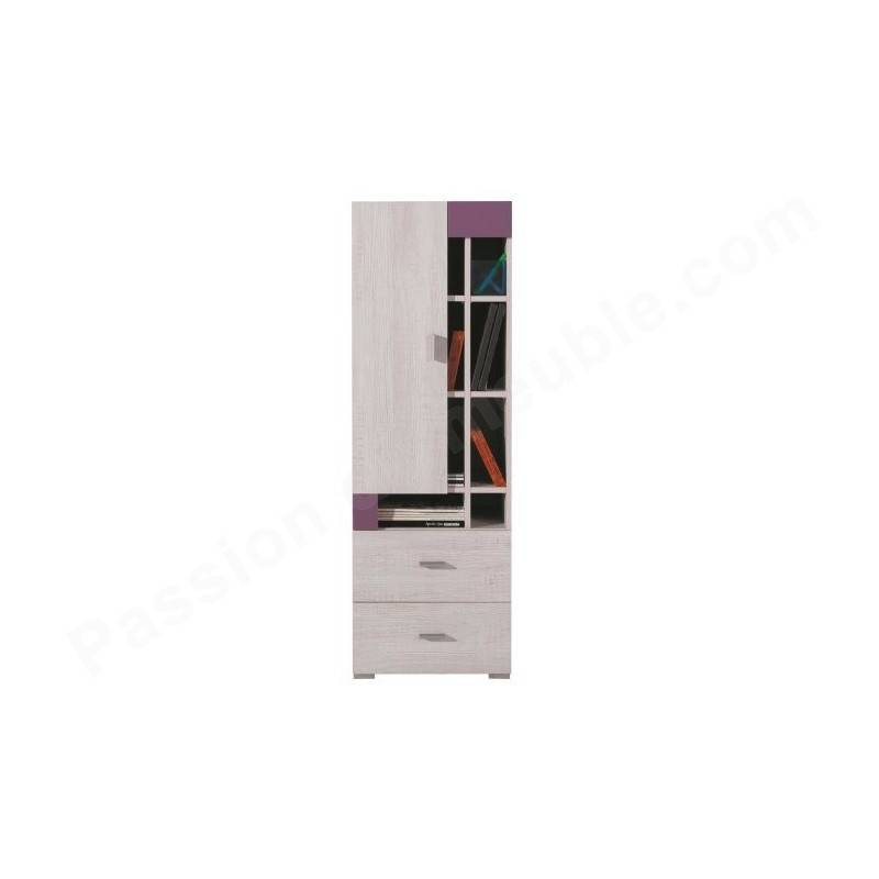 Armoire enfant en pin, 1 porte, 2 tiroirs, 8 niches, Gamme evora Blanc et magenta