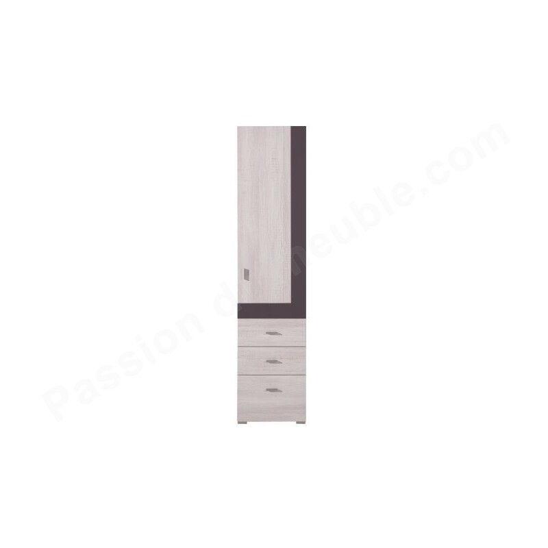 Armoire enfant en pin, 1 porte, 3 tiroirs, Gamme evora Blanc et gris