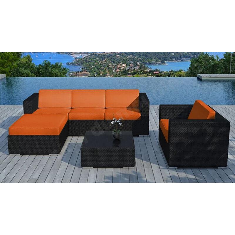 CRDIS Salon bas de jardin en resine tressee noire et tissu orange,, places,, canape,, fauteuil,, pouf,, t