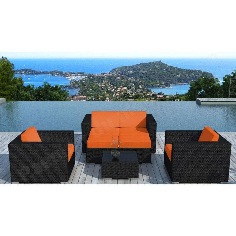 CRDIS Salon bas de jardin en resine tressee noire et tissu orange,, places,, canape,, table,, fauteuils,,