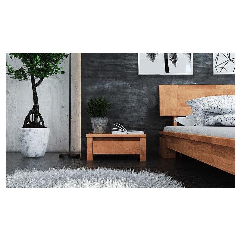 CRDIS Table de chevet en hêtre, 1 tiroir, Gamme Carouge Hêtre huilé
