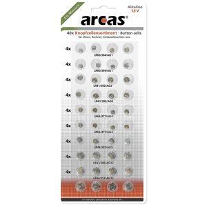 Arcas Toolzone Lot de 40 piles bouton AG1/AG3/AG4-AG5-AG12-piles AG13 Idéal pour les télécommandes, TV, appareil photo, télécommandes de voiture, montres, Radios, petits jouets électriques; alarme télécommandes - Publicité