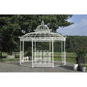 Grande Tonnelle Kiosque De Jardin Pergola Abris Rond Kiosque En Fer Forgé Et Fonte Blanc 340x370x370cm - Publicité