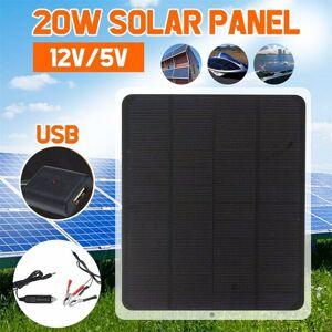20W Panneau solaire 12V / 5V Chargeur de batterie pour voiture RV bateau Accueil Pince crocodile @doauhao3034 - Publicité