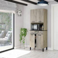 CAESAROO Meuble de cuisine 72x40x186 cm chêne et gris anthracite   chêne et gris
