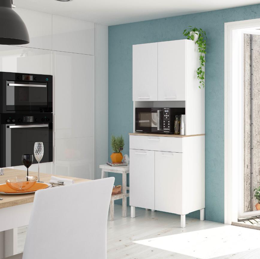 CAESAROO Meuble de cuisine 72x40x186 cm Blanc mat et Roble canadien   Blanc artik et Roble canadian