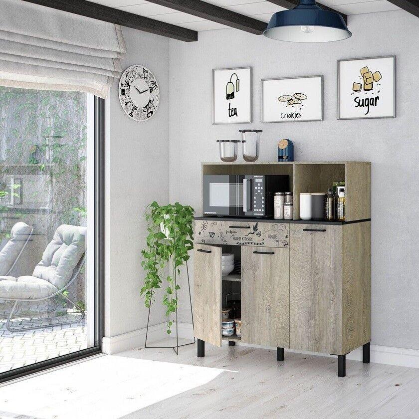 CAESAROO Meuble de cuisine 108x40x126 cm chêne et gris anthracite   chêne et gris
