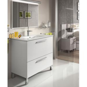 CAESAROO Meuble de salle de bain sur le sol 80 cm Blanc Brillant avec miroir   Blanc brillant - Avec lampe Led - Publicité